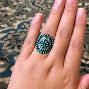 AEO Turquoise Flower and Brushed Gold Ring size 8